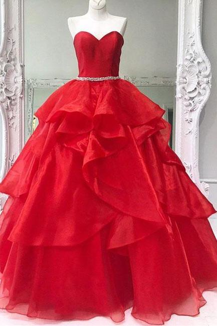 Simple Prom Dresses,New Prom Gown,Vintage Prom Gowns,Red sweetheart neck tulle long prom dress, ball gown Prom Gowns,PD14704