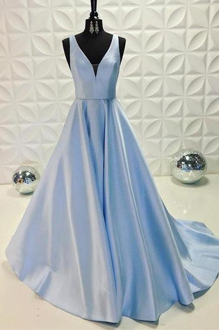 Simple Prom Dresses,New Prom Gown,Vintage Prom Gowns,Light blue v neck long prom dress, blue evening dress ,PD14707