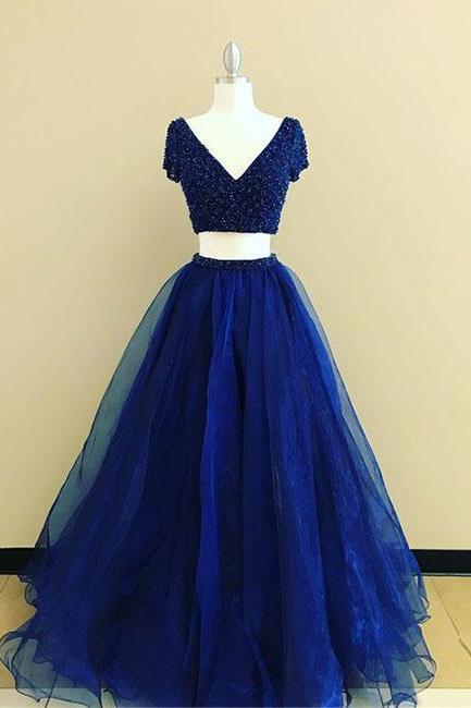 Simple Prom Dresses,New Prom Gown,Vintage Prom Gowns,royal Blue two pieces long prom dress, blue evening dress,PD14714