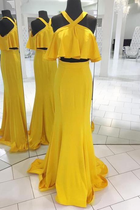 Two Piece Yellow Long Prom Dress with Ruffle,Prom Dresses,Evening Dress, Prom Gowns, Formal Women Dress,PD14745