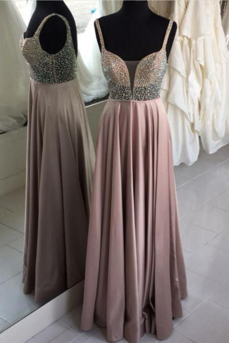 Sexy Sleeveless Prom Dress, Long Prom Dresses, Beaded Floor Length Evening Dress,PD14774