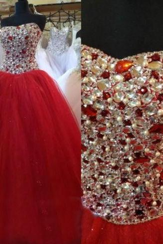 Red Beading Prom Dress,Long Prom Dresses,Charming Prom Dresses,Evening Dress Prom Gowns, Formal Women Dress ,PD14802