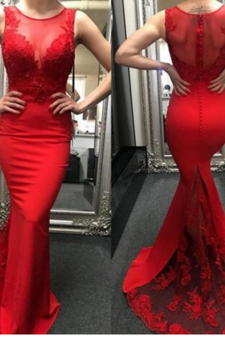 Charming Prom Dress, Sexy Red Mermaid Prom Dresses with Appliques, Lace Evening Dress,PD14923