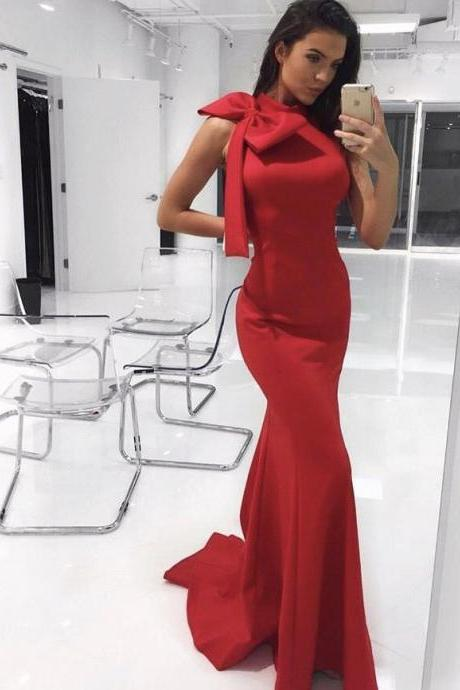 Gorgeous Mermaid Red Long Prom Dress with Bow,PD14955