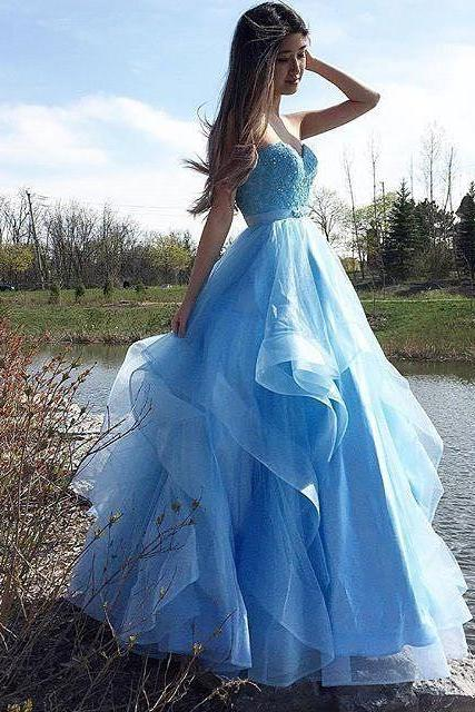 Charming Prom Dress, Blue Appliques Evening Dress, Sexy Tulle Prom Dresses,PD14970