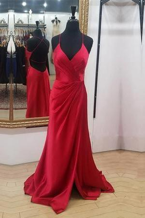 Charming Red Mermaid Prom Dress, Sexy Simple Prom Dresses, Long Evening Dress, Backless Party Gowns,PD141117