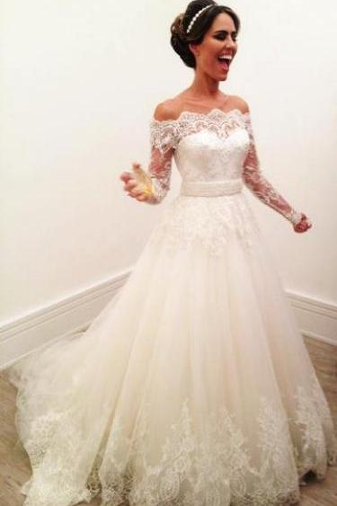 Long Sleeve Lace Wedding Dress, Elegant Tulle Wedding Gowns with Appliques, Formal Bridal Dresses,PD141122