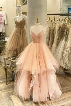 Sexy Spaghetti Straps Prom Dress, 2018 Tulle Prom Dresses, Long Evening Dress, Formal Prom Gowns,PD141130