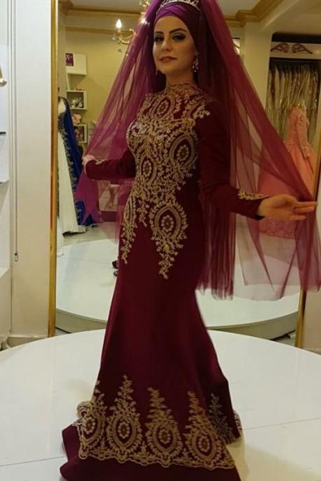 Muslim Evening Dresses,Arabic Prom Dresses,Long Sleeves Evening Gowns,Long Sleeves Prom Dress,PD141158