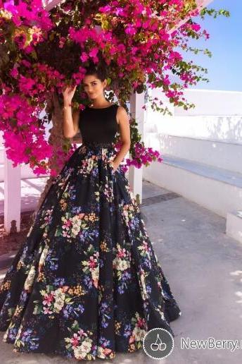 Printed Prom Dress, A Line Prom Dress, Sleeveless Prom Dress, Prom Dresses,PD141196