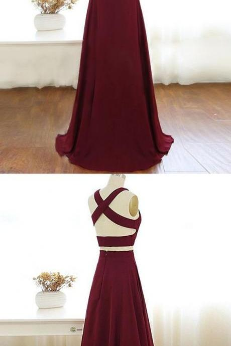 Gorgeous 2 pieces Prom Dresses Long Sexy Evening Gowns Chiffon Two Piece Formal Dress For Teens,PD1411136