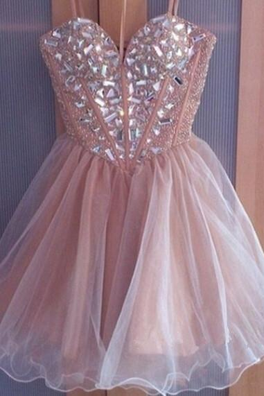 A-line Sweetheart Homecoming Dresses, Tulle Graduation Dress ,Short Prom Dresses,Pink Homecoming dresses,PD1411150