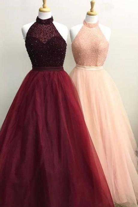 Elegant High Neck Burgundy/Pink Long Prom Dresses with Beaded,PD1411177