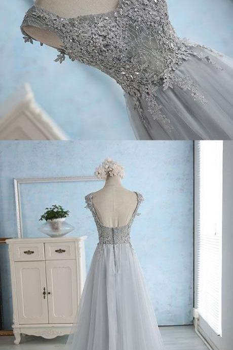 Gray Blue Long Prom Dresses with Appliques,PD1411203