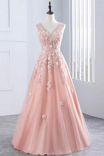 Pink v neck tulle lace long prom dress, pink evening dress ,PD1411205