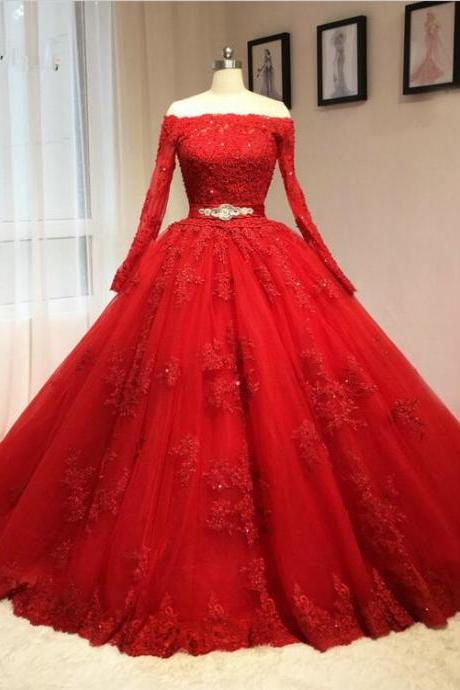 lace tulle long prom dress,red evening dress,PD180209