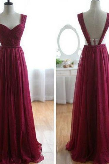 Long Chiffon Prom Dress, Burgundy Prom Gowns, Bridesmaid Dresses, Long Prom Dress, Backless Evening Dress,PD17067