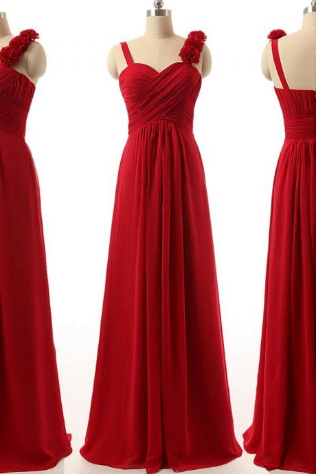 Custom Made Red Chiffon Long A-Line Bridesmaid Dress with Floral Applique