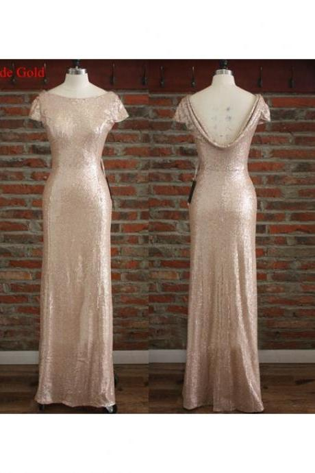 champagne sequin bridesmaid dress, long bridesmaid dress, short sleeves bridesmaid Dress, sparkle bridesmaid dress, 2016 discount Bridesmaid Dress, BD1454