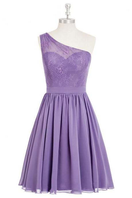 Custom Made Lavender One-Shoulder Neck Lace Knee Length Chiffon Bridesmaid Dress