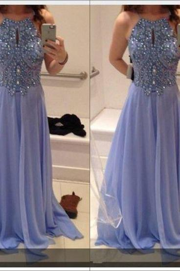 lilac prom dress, beaded Prom Dress, A-line Prom Dress, long prom Dress, Prom Dress 2017, chiffon Evening Dress, formal Prom Gowns,FS73331