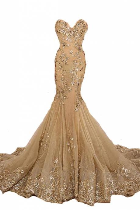 lace Prom Dress,mermaid Prom Dress,gold Prom Dress,sweetheart Prom Gowns,lace up evening gown,gorgeous prom gown, FS599