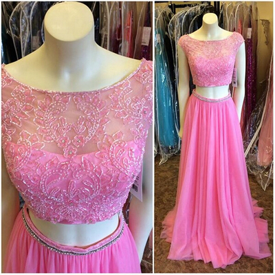 hot pink two pieces beaded long prom dress, 2017 formal evening dress, PD147103