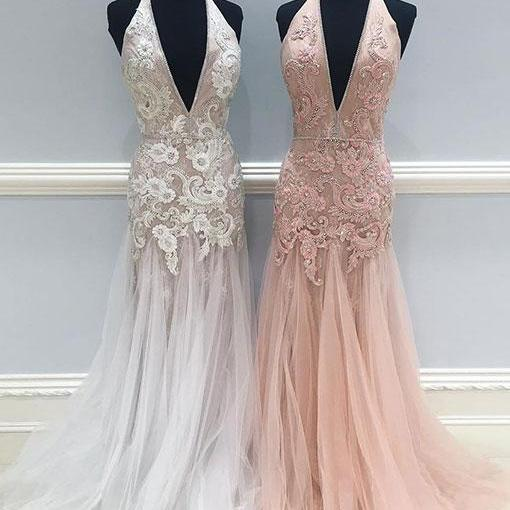 Simple Prom Dresses,New Prom Gown,Vintage Prom Gowns,Mermaid lace tulle long prom dress, lace evening dress ,PD14669