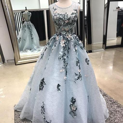 Gray lace long prom dress, gray evening dress ,PD180201