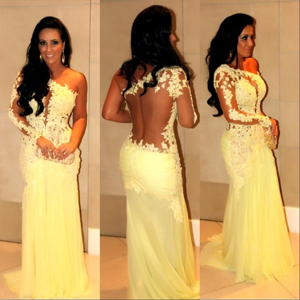 Yellow lace prom dress, long sleeve prom dress, long prom dress, one shoulder prom dress, occasion dress, sexy prom dress, BD124