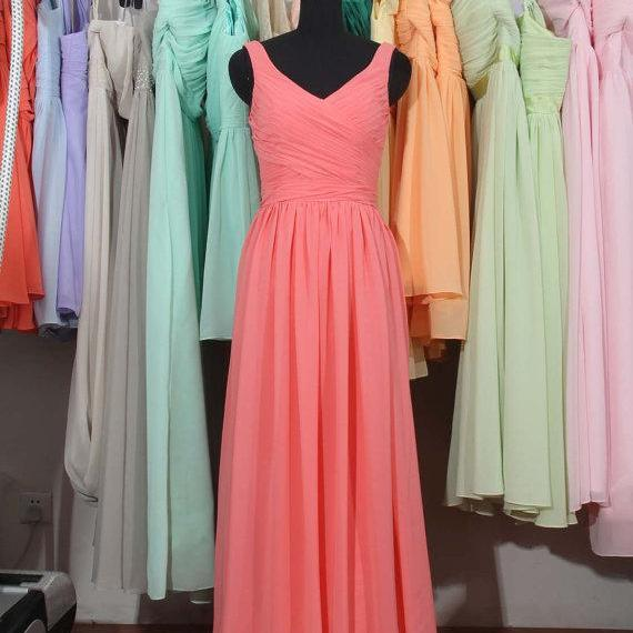 Coral Bridesmaid Dress, A-line bridesmaid dress,V Neck bridesmaid dresses, Long Chiffon Bridesmaid Dress, bridesmaid dress,Cheap Bridesmaid Dress, BD2710