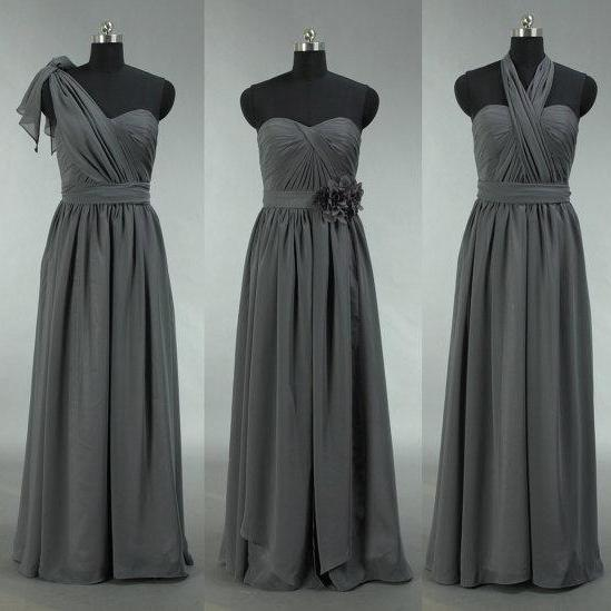 Popular Bridesmaid Dress, Long Grey bridesmaid dress,Convertible Chiffon Bridesmaid Dress, Grey Bridesmaid Dress, mismatched bridesmaid dress,BD2719