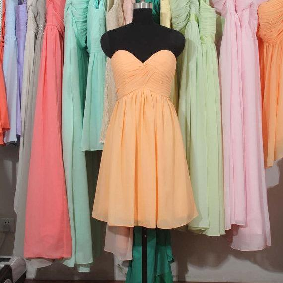 Peach Bridesmaid Dress, A-line bridesmaid dress,Sweetheart Short bridesmaid dress, Chiffon Bridesmaid Dress,bridesmaid dress,BD2720